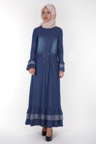 - Belden Bağcıklı Kot Elbise-3027