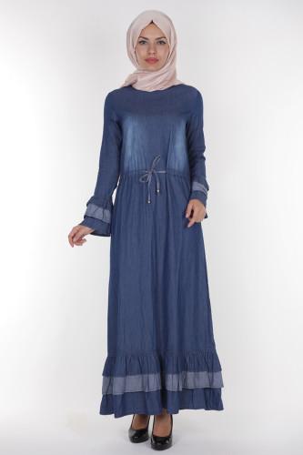 - Belden Bağcıklı Kot Elbise-3027 (1)