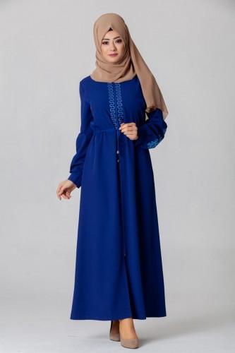 - Belden Bağcıklı Nakış İşlemeli Ferace-3643 Mavi