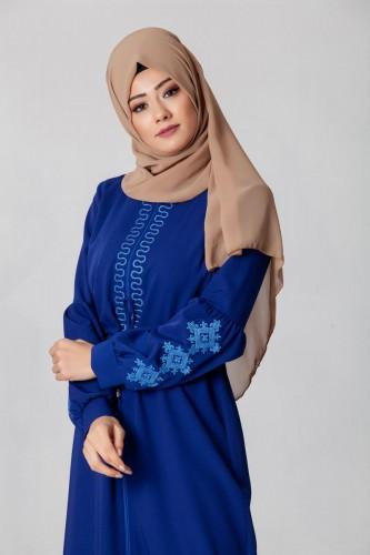 - Belden Bağcıklı Nakış İşlemeli Ferace-3643 Mavi (1)