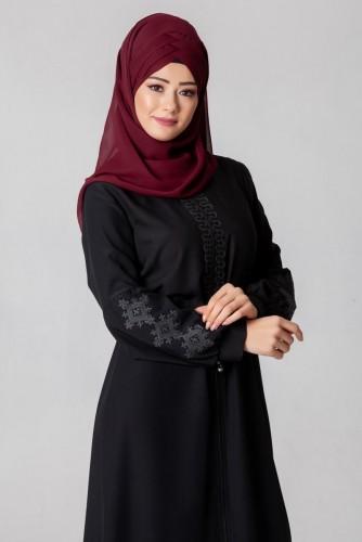 - Belden Bağcıklı Nakış İşlemeli Ferace-3643Siyah (1)