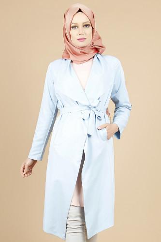 - Belden Bağlamalı Kimono-Mavi0522
