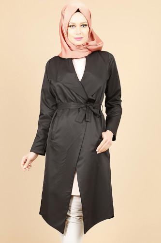 Modaebva - Belden Bağlamalı Kimono-Siyah0522