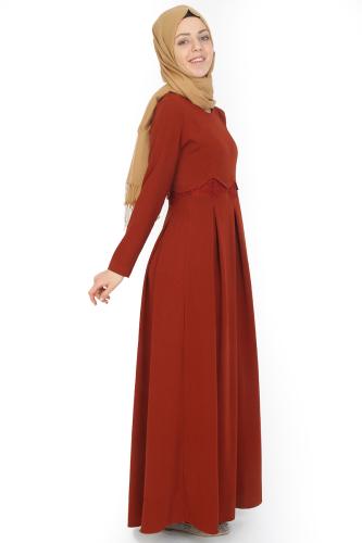 - Belden Güpürlü Pileli Elbise Kiremit-ZRD0516 (1)