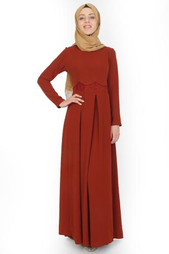 - Belden Güpürlü Pileli Elbise Kiremit-ZRD0516