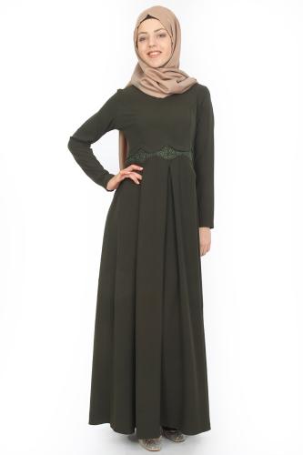 - Belden Güpürlü Pileli Elbise Yeşil-ZRD0516