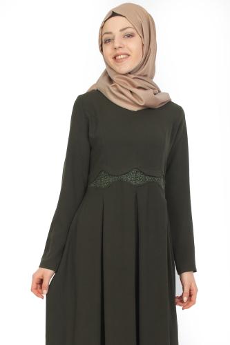 - Belden Güpürlü Pileli Elbise Yeşil-ZRD0516 (1)