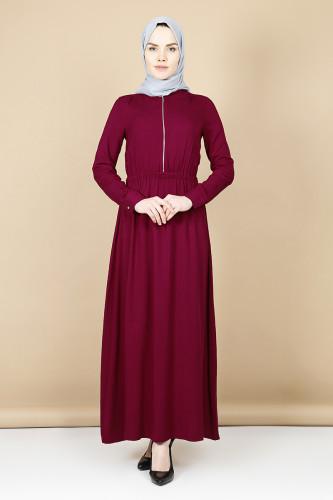 - Belden Kalın Lastikli Fermuarlı Elbise-Bordo3344