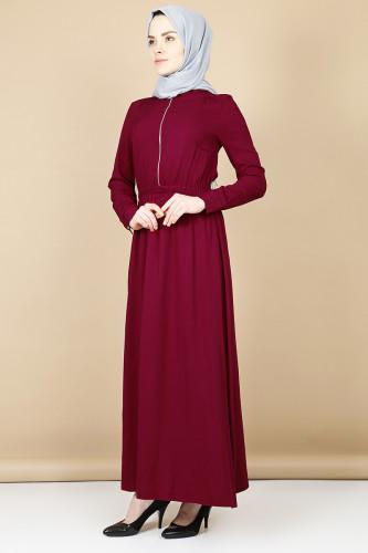 - Belden Kalın Lastikli Fermuarlı Elbise-Bordo3344 (1)