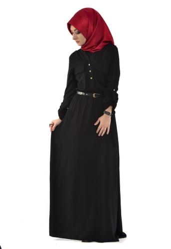 - Belden Lastikli Spor Elbise Siyah-3340
