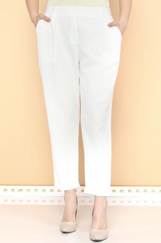 - Beli Lastikli Bilek üstü Pantolon-2005 Beyaz