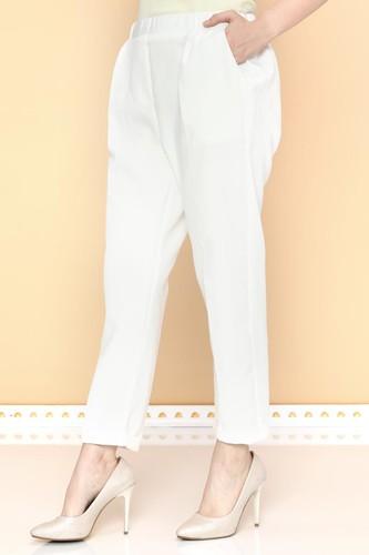 - Beli Lastikli Bilek üstü Pantolon-2005 Beyaz (1)