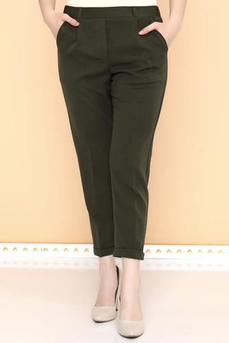 - Beli Lastikli Bilek üstü Pantolon-2005 Haki yeşili