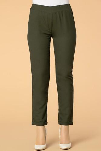 Modaebva - Beli Lastikli Cepli Bilek Boy Pantolon-2012 Hakiyeşil