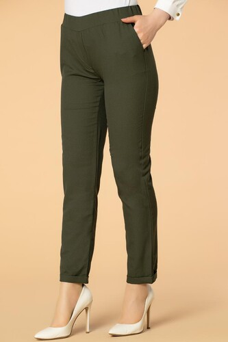 Modaebva - Beli Lastikli Cepli Bilek Boy Pantolon-2012 Hakiyeşil (1)
