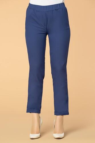 Modaebva - Beli Lastikli Cepli Bilek Boy Pantolon-2012 İndigo (1)