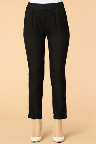 Modaebva - Beli Lastikli Cepli Bilek Boy Pantolon-2012 Siyah