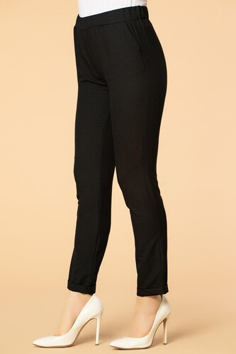 Modaebva - Beli Lastikli Cepli Bilek Boy Pantolon-2012 Siyah (1)
