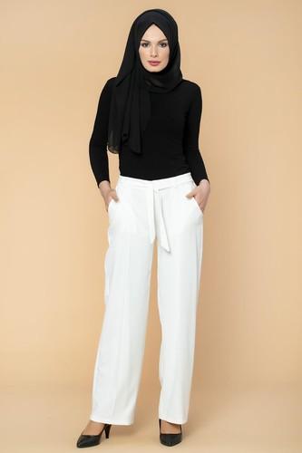 Modaebva - Beli Lastikli Cepli Pantolon-2038 Beyaz