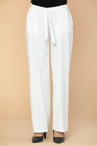 Modaebva - Beli Lastikli Cepli Pantolon-2038 Beyaz (1)