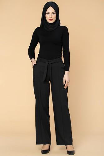 Modaebva - Beli Lastikli Cepli Pantolon-2038 Siyah (1)