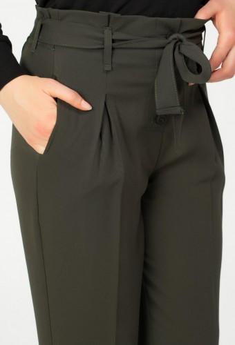 - Beli lastikli Düğmeli Pantolon-2030 Hakiyeşil (1)