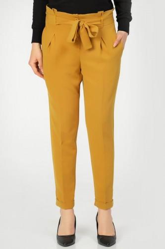 - Beli lastikli Düğmeli Pantolon-2030 Hardal