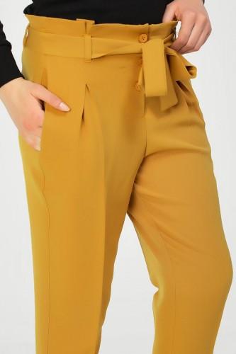 - Beli lastikli Düğmeli Pantolon-2030 Hardal (1)