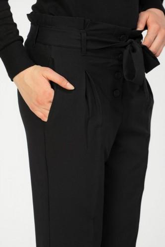- Beli lastikli Düğmeli Pantolon-2030 Siyah (1)