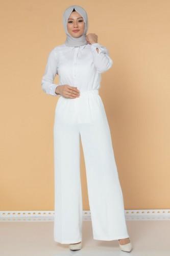 Modaebva - Beli Lastikli Geniş Paça Pantolon-3035 Beyaz