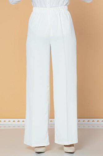 Modaebva - Beli Lastikli Geniş Paça Pantolon-3035 Beyaz (1)