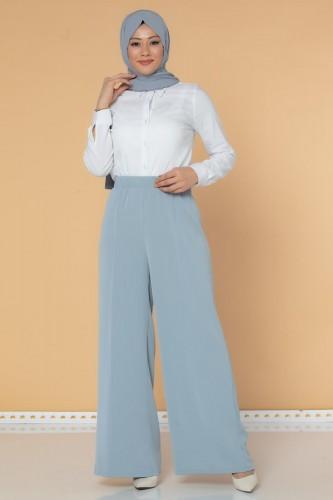 Modaebva - Beli Lastikli Geniş Paça Pantolon-3035 Gri