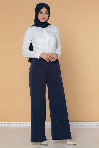 Modaebva - Beli Lastikli Geniş Paça Pantolon-3035 Lacivert