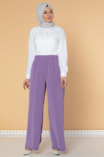 Beli Lastikli Geniş Paça Pantolon-3035 Lila - Thumbnail