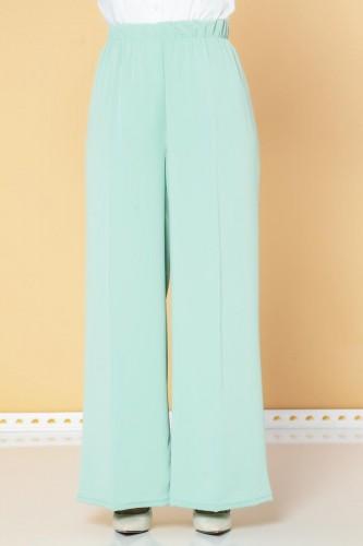 Modaebva - Beli Lastikli Geniş Paça Pantolon-3035 Mint