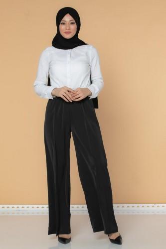 Modaebva - Beli Lastikli Geniş Paça Pantolon-3035 Siyah (1)