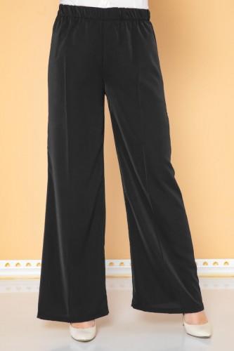 Modaebva - Beli Lastikli Geniş Paça Pantolon-3035 Siyah