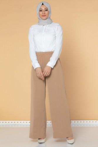 Modaebva - Beli Lastikli Geniş Paça Pantolon-3035 Vizon