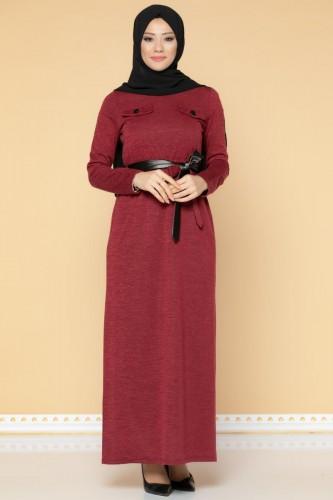 Modaebva - Beli Lastikli Kemerli Tesettür Elbise-3029 Bordo