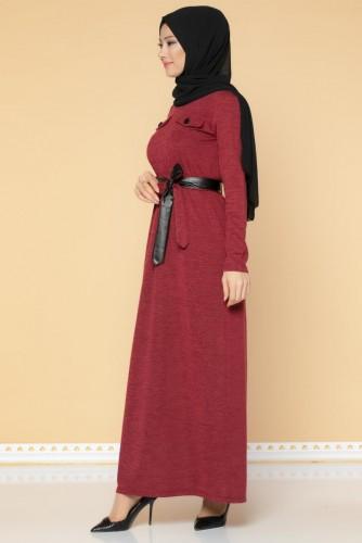 Beli Lastikli Kemerli Tesettür Elbise-3029 Bordo - Thumbnail