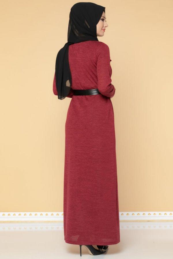 Beli Lastikli Kemerli Tesettür Elbise-3029 Bordo