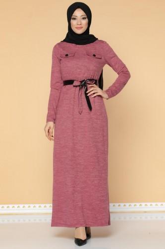 Modaebva - Beli Lastikli Kemerli Tesettür Elbise-3029 Gülkurusu