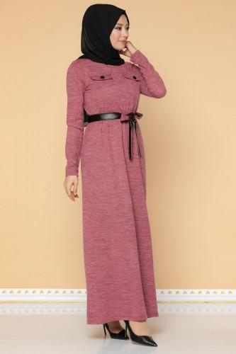 Beli Lastikli Kemerli Tesettür Elbise-3029 Gülkurusu - Thumbnail