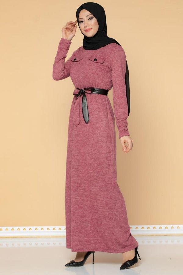 Beli Lastikli Kemerli Tesettür Elbise-3029 Gülkurusu