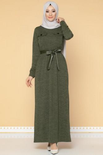 Modaebva - Beli Lastikli Kemerli Tesettür Elbise-3029 Hakiyeşil