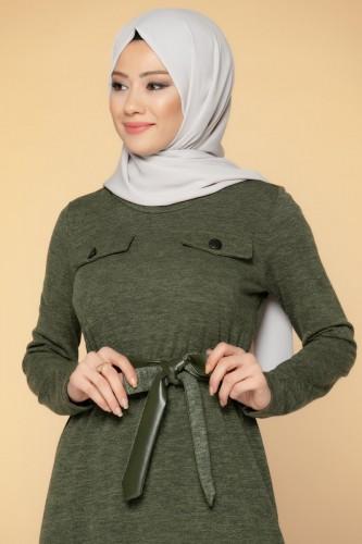 Modaebva - Beli Lastikli Kemerli Tesettür Elbise-3029 Hakiyeşil (1)