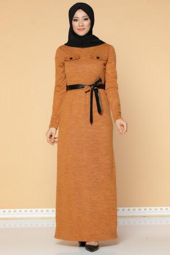 Modaebva - Beli Lastikli Kemerli Tesettür Elbise-3029 Hardalsarısı