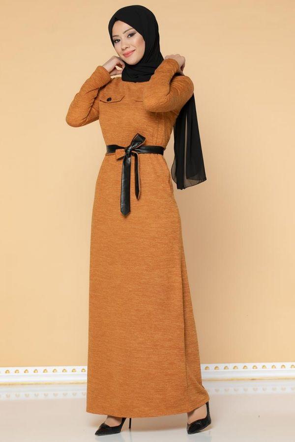 Beli Lastikli Kemerli Tesettür Elbise-3029 Hardalsarısı