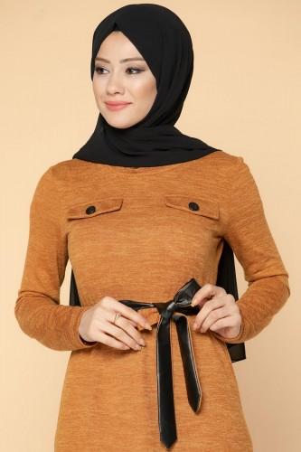 Modaebva - Beli Lastikli Kemerli Tesettür Elbise-3029 Hardalsarısı (1)