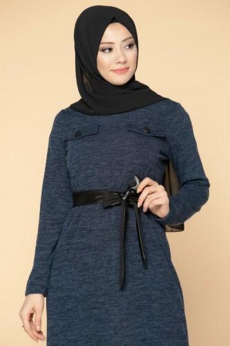 Modaebva - Beli Lastikli Kemerli Tesettür Elbise-3029 Lacivert (1)